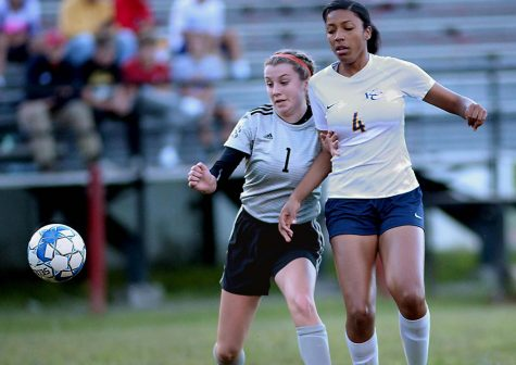 Harlan Countys Abigail Gaw battled for possession in Thursdays match against Knox Central at the James A. Cawood field. Gaw had the only goal for the Lady Bears in an 11-1 loss.