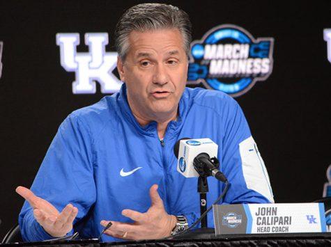 Coach John Calipari at the podium Thursday.  (Kentucky Today/Keith Taylor)