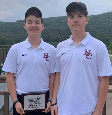 Ethan Simpson (left) and Evan Simpson competed in the Pine Mountain Golf Conference Junior Varsity Tournament in Pineville.