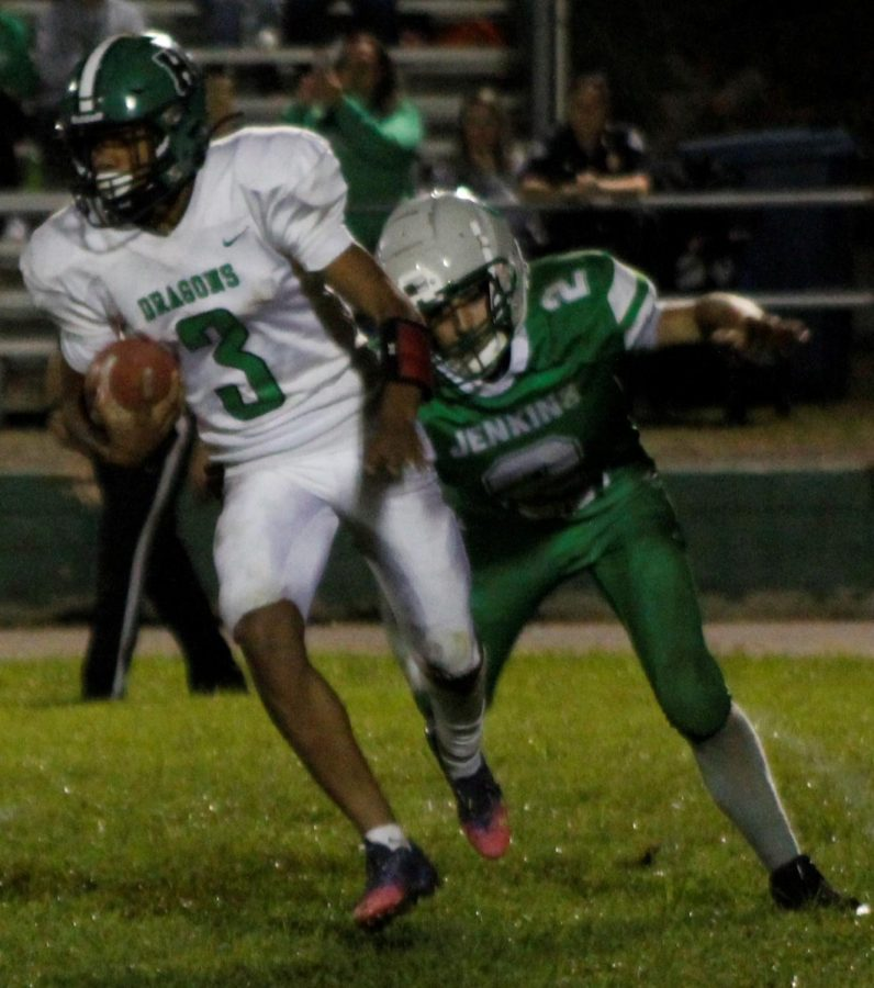 Donovan Montanaro scored one touchdown rushing and one passing in Harlans 30-0 win at Jenkins last week.