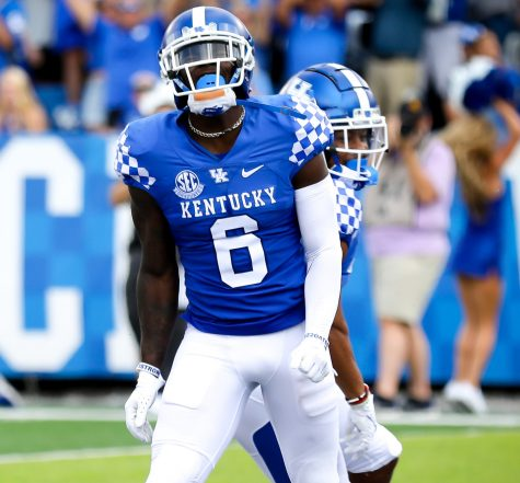 Josh Ali celebrated after making a catch in Kentuckys win over ULM Saturday at Kroger Field.
