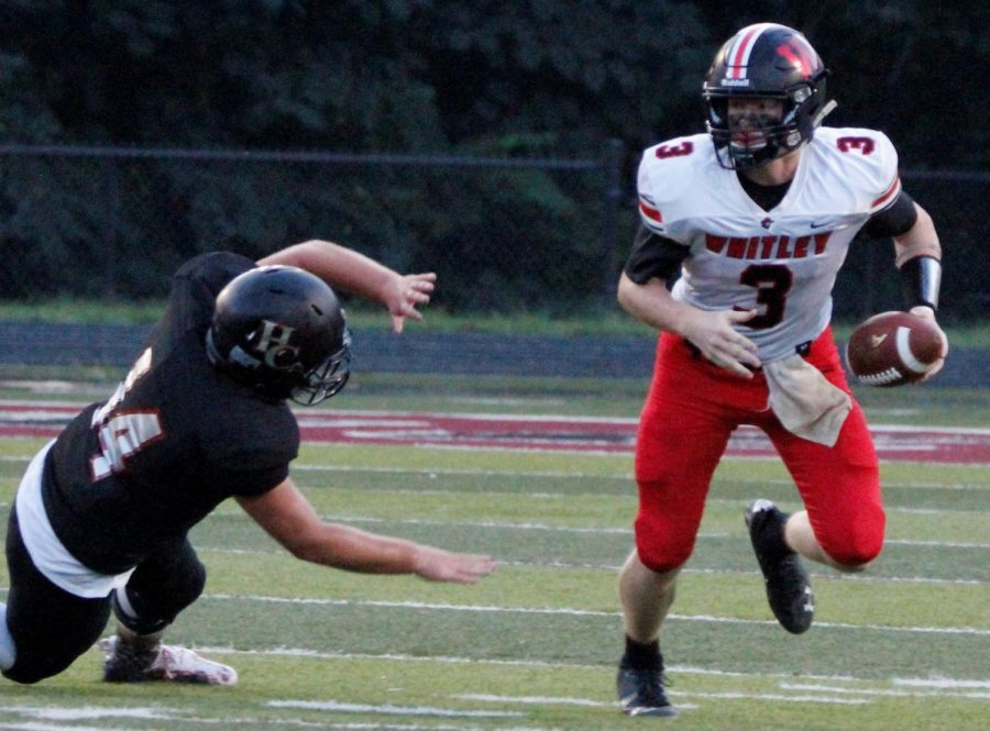 Whitley County senior quarterback Caden Petrey passed for 222 yards and three touchdowns in the Colonels' 42-16 win Friday at Harlan County.