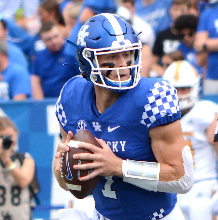 Kentucky+quarterback+Will+Levis+dropped+back+to+make+a+pass+in+the+Wildcats+narrow+win+over+Tennessee+Chattanooga+last+Saturday+at+Kroger+Field.