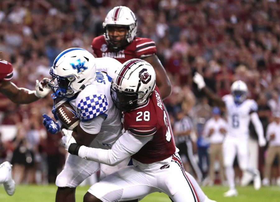 Kovosiey Smoke rushed for a yard during the first half of a 16-10 win at South Carolina on Saturday night.