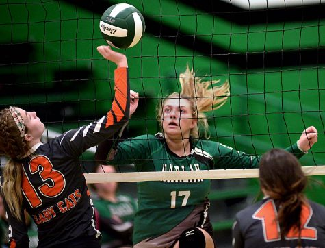 Harlans Annie Hoskins went up against Lynn Camps Scarlett Wilson in volleyball action Tuesday. Harlan fell to 7-8 on the season with a four-set loss.