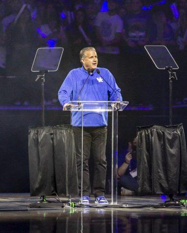 Kentucky coach John Calipari spoke at Big Blue Madness last Friday night in Lexington.