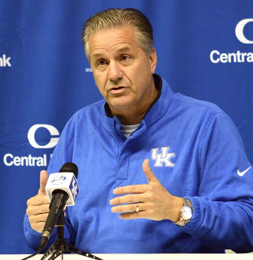 Kentucky basketball coach John Calipari addressed the members of the media on Wednesday at Memorial Coliseum.