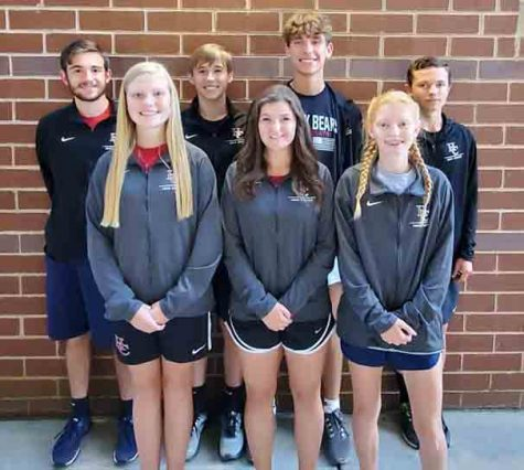 This year's Harlan County High School cross country seniors include, from left, front row: Leah Taulbee, Riley Key and Summer Farley; back row: Lucas Epperson, Breydy Daniels, Matt Yeary and Daniel Joseph.