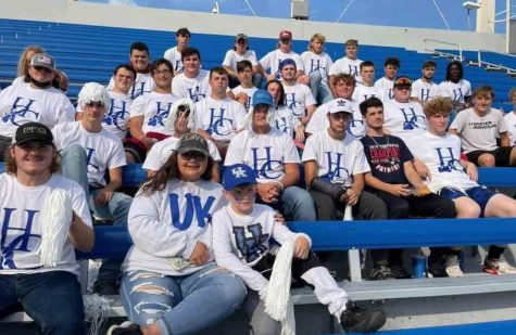 Members of the Harlan County High School football program are pictured at Kroger Field before the University of Kentuckys game against Florida.