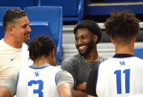 Dominique Hawkins was all smiles as he met the Wildcats at Rupp Arena on Monday.