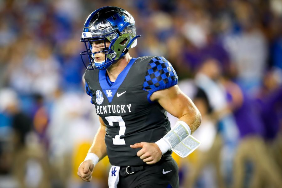 Kentucky quarterback Will Levis accounted for five of Kentuckys six touchdowns against LSU on Saturday night.