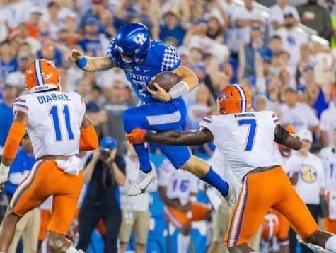 Kentucky quarterback Will Levis leaped for a first down in a win over Florida last Saturday at Kroger Field.